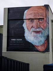 Hugh Wilson the Botanist (Steve Taylor (Photography)) Tags: hughwilson botanist hinewaireserve bankspeninsula conservationist cyclisy beard restartmall face art portrait graffiti mural streetart black blue brown man newzealand nz southisland canterbury christchurch cbd city container