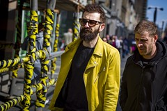Black and Yellow (Leanne Boulton) Tags: portrait urban street candid portraiture streetphotography candidstreetphotography candidportrait streetportrait streetlife dutchangle tilt angle man male face expression mood beard bright yellow black colourful scaffolding jacket style fashion sunny sunshine sunglasses spring hazard tone texture detail depthoffield bokeh imperfection naturallight outdoor light shade shadow city scene human life living humanity society culture people canon canon5d 5dmkiii 70mm ef2470mmf28liiusm color colour glasgow scotland uk