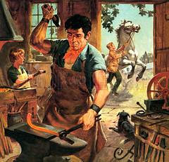 Country Craftsmen (wajadoon) Tags: craftsmen farrier blacksmith hammer anvil dog horse horseshoe tools crafts craftsman england village strength solidity reliability