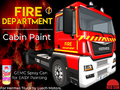 Fire Department Painting for Hermes Truck Cabin (cuuka) Tags: cuuka red sun camion truck hermes fire department pompiers cabin paint painting texture sell market colors intervention service utility shop redsun
