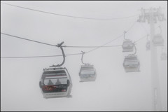 Journey into the Unknown (adrians_art) Tags: emiratesairline greenwichpeninsula riverthames greenwich docklands isleofdogs coty urban london uk cablecar ride travel transport silhouettes foggy misty weather shadows people lines minimalism minimalistic minimal