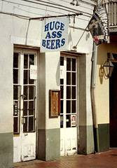Huge Ass Beers (photographyguy) Tags: louisiana neworleans doors sign frenchquarter champions neworleanssaints entrance beer funny vieuxcarre
