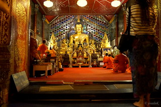 Buddhist Monks Praying at Temple Mountain Chiang Mai Thailand