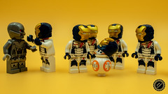 """What do you mean its not one of us. It has one of our heads..."" (QuirkyPerceptions) Tags: lego minifigs marvel ultron iron legion bb8"