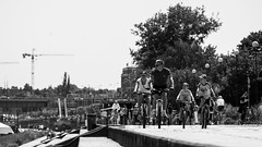 Sunday (PiotrTrojanowski) Tags: warsaw poland vistula river bank people bike man running summer sunny day hot warm leisure relax free time stairs outdoor tree city bridge black white bw monochrome