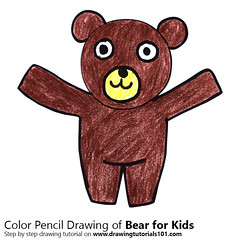Bear for Kids (drawingtutorials101.com) Tags: bear for kids cartoon animals easy step by sketching pencil sketch sketches draw drawing drawings color colors coloring how pencils