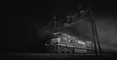 A night at Tipton (benpsut) Tags: nspittsburghline 225 pt225 prr prrsignal prrsignalbridge pennsy pennsysignal pennsysignalbridge trains railroad flash strobe blackandwhite black white rail fog night nightshot nightphoto photo