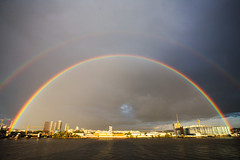 morden wharf gets the blessing (n.a.) Tags: rainbow double greenwich peninsula river thames london docklands angry sky