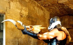 Worship (Badger Spirit) Tags: man masked badger mask hood latex leather fur armour skull bull