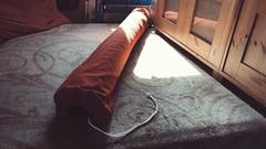 van life:  new sack for 5x7 outdoor rug (killyourcar) Tags: textiles custom bag stuffsack sack chevy design outdoorrug outdoor rug orange red interior campervan camper vanlife van