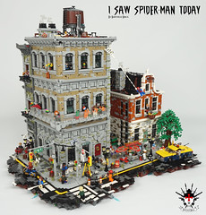 I Saw Spider-Man Today - by Barthezz Brick 1 (Barthezz Brick) Tags: lego afol spiderman custom moc comic marvel nyc fantasy brick barthezzbrick legocreator brickbuild barthezz car taxi comics sushi paperboy guitar soccer motor