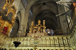Clôture du choeur, cathédrale gothique Sainte Marie (XIIIe-XVe), Tolède, Castille-La Manche, Espagne.