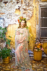 Happiness... (glasskunstler) Tags: gown pregnant with child beauty flowers french ruins outdoor model