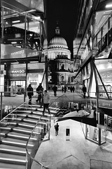 New Religion (Douguerreotype) Tags: monochrome dome buildings cathedral store street church city night bw uk gb england british blackandwhite shop mono architecture britain london shopping stairs urban people dark steps