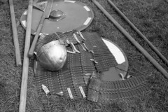 Historia Normannis - Ormskirk Medieval Weekend (the underlord) Tags: historianormannis medieval historic reenactment battle lifestyle kodakd76 10minutesatstock film 12thcentury ormskirk coronationpark medievalweekend ilfordfp4plus 200asa westlancashire sword pike shield axe weapon armour helmet