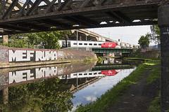 Pendolino, with matching Graffiti... (powern56) Tags: westmidlands birmingham oldbury birminghamcanal oldburyviaduct m5 motorway virgintrains class390 pendolino 390045 5b21 reflection railway train railwaybridge graffiti