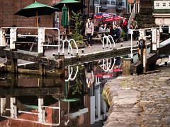 Happy hour (MikeONeil) Tags: canal bridge water reflections city lock gates nottingham pub parasol