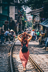 Sexy Asian woman walking through Hanoi (Paul D'Ambra - Australia) Tags: city dress hanoi hanoioldquarter streetphotography vietnam woman hànội