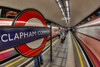 Clapham Common (D-W-J-S) Tags: london2018 forflickr london underground tube platform train movement blur speed red blue commuter people person clapham common station