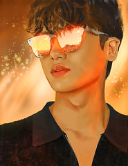 Golden Hour (g017 - g017.deviantart.com) Tags: boy man male digital painting kpop hyungsik fanart lighting sunglasses smile gold golden bokeh glitter glittering