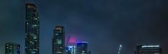 splitting the fog (pbo31) Tags: sanfrancisco city urban california night dark color april 2018 spring boury pbo31 nikon d810 southbeach embarcadero skyline construction crane salesforce fog panoramic large stitched panorama