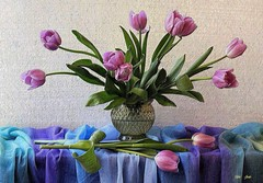 Tulip Spades (Esther Spektor - Thanks for 12+millions views..) Tags: stilllife naturemorte bodegon naturezamorta stilleben naturamorta composition creativephotography art spring tulips tabletop tablecloth drape glass pattern texture ambientlight green purple blue golden lavender white estherspektor canon