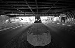 under the train bridge (rafasmm) Tags: berlin germany monochrome blackwhite black white bridge train walk metal structure outdoor nikon d90 sigma 1020 ex