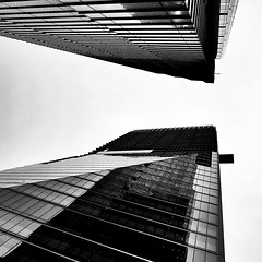 IMG_5833 (Kathi Huidobro) Tags: reflections facade urbanism blackwhite bw monochrome glass acute perspective lookingup windows patterns abstract londonbuildings london skyscrapers officebuildings architecture