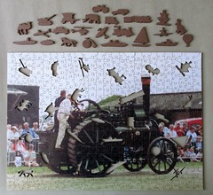 Wentworth Personal Puzzle, whimsies removed (pefkosmad) Tags: jigsaw puzzle hobby pastime leisure wentworth wooden whimsies figurals medite traditional wood complete used secondhand personalpuzzle photograph photo steam traction engine