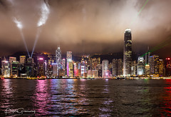 Laser Light Show Over Victoria Harbour At Tsim Sha Tsui, Hong Kong (Peter Greenway) Tags: lasers lazer china hk tsimshatsui flickr lightshow nightphotography hongking laser nighttime skyscrapers city nightlights urban lazers night asia skyline cityscape victoriaharbour