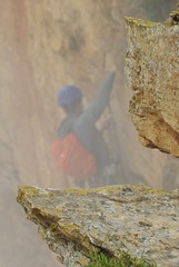 climber (derpunk) Tags: mountain climber climb sport exciting rock looks pretty dangerous route des cretes cassis la ciotat france south fog foggy rainy provence