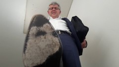 Businessman's fancy dress shoes 05 (+VIDEO LINK!) (TBTAOTW2011) Tags: businessman business man daddy dad old mature grey gray belly suit shirt socks leather pants dress shoe shoes burgundy brown ostrich white silver fox glasses feet foot hidden camera candid sole soles