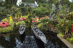 Gardens by the Bay, Singapore (Chicago_Tim) Tags: singapore asia asian southeast gardensbythebay gardens by bay botanic conservatory dome greenhouse cloudforest cloud forest pond reflection sculpture figures wood canoe