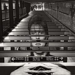 Broadway-Lafayette Street Station (SG Dorney) Tags: nyc newyorkcity subway subwaystation bw noho davidbowie davidbowieishere blackandwhite art streetart subwayart square iphone broadwaylafayettestreetstation tunnel tunnelvision