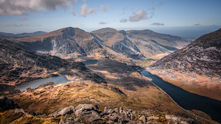 Mountain tops...Ogwen valley from the summit of Tryfan