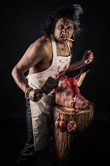 (neal1973) Tags: studio portrait canon600d canon pig meat butcher smoke smoking blood