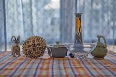 assortment (Robert Borden) Tags: favoritethings curiosities knickknacks art ceramics vessels santaclarita la losangeles socal california fuji fujifilm fujifilmxt2 fujiphotography 50mm 50mmlens color soft bokeh