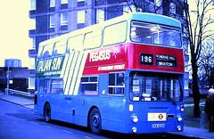 Slide 118-17 (Steve Guess) Tags: norwood junction london england gb uk regional transport tendered bus unit lrt cityrama 196 dms south yorkshire pte daimler fleetline pegasus italian sun advert