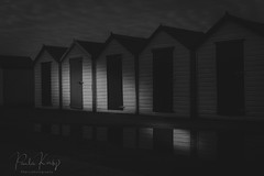 Beach Huts B&W (PKpics1) Tags: beachhuts beach huts light black blackandwhite bw seaside landscape buildings water puddle clouds cloudy torquay england