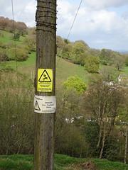 Warning Signs, Belle Vue Lane, Upper Cwmbran 25 April 2018 (Cold War Warrior) Tags: warning danger caution hazard electricity cwmbran prohibition