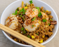 Saturday dinner. Fried quinoa 'rice' with prawns and scallops. (garydlum) Tags: sesameseeds scallops onion quinoa chilliflakes sesameoil friedshallots chillies springonions soysauce prawns belconnen australiancapitalterritory australia au