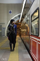Everyday Cosplay #12: Clair De Lune Cosplay as Emily Caldwin (Commuting) (SpirosK photography) Tags: cosplay costumeplay everydaycosplay spiroskphotography photographyproject photographicproject portrait istanbul greece emilykaldwin clairdelunecosplay clairdelune tram commuting work dishonored2 game videogame videogamecharacter