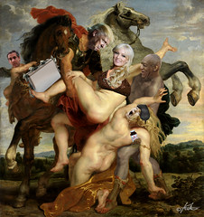"""""""Changing Times"""" (after Rubens) (yfjnirrx72) Tags: rubens trump cosby rape michaelcohen payoff horses satire parody collage daughtersofleucippus paintings renaissance stormydaniels quaaludes money funny"""