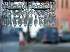 Crystals (halifaxlight) Tags: norway hordaland bergen lightshade crystal decoration street pedestrian walking van building fjord red grey bokeh