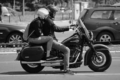 Romance on wheels (salaminijo) Tags: moto couple harley blackandwhite monochrome bike people vehicle motorcycle photo flickr photoborder focus pics canon outdoor belgrade ser road street free bw shadows spirit portreit bianconero schwarzundweiss eos