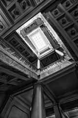 Historic Flight (Kirby Wright) Tags: stair stairs staircase stone granite marble carved shapes geometry pillars old wisconsin historic historical society rectangle downtown madison dane county uw campus light sun wide angle super ceiling looking up architecture spiral steps indoor nikon d700 rokinon 14mm f28 28