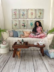A to Z Doll Photography Challenge K - Knick-Knack/Keepsakes (JunqueDollBoutique) Tags: living room doll diorama shabby chic romantic country playscale barbie wonder woman reading