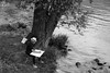 The artist (John fae Fife) Tags: fujifilmx noiretblanc neckar germany bw nb monochrome river artist sketching blackandwhite xe3 badenwürttemberg riverbank heidelberg