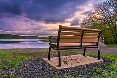 A good place to seat at and a great view to see! (Mohsen_Jabali) Tags: sunset usa pennsylvania landscape flickr blue dark sun view wonderful trees old park scranton scrantonlake lake summer vacation walking path walkingpath color amazing am america water pa nepa photographer nature nikond750 nikon 24120mm hour bluehour mountains landscapes outdoor sky trip travel tourism lights