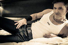 Naughty thoughts (RIch-ART In PIXELS) Tags: leather leatherjeans leatherpants black leicadlux6 dlux6 leica male gay rob bulge shiny stud